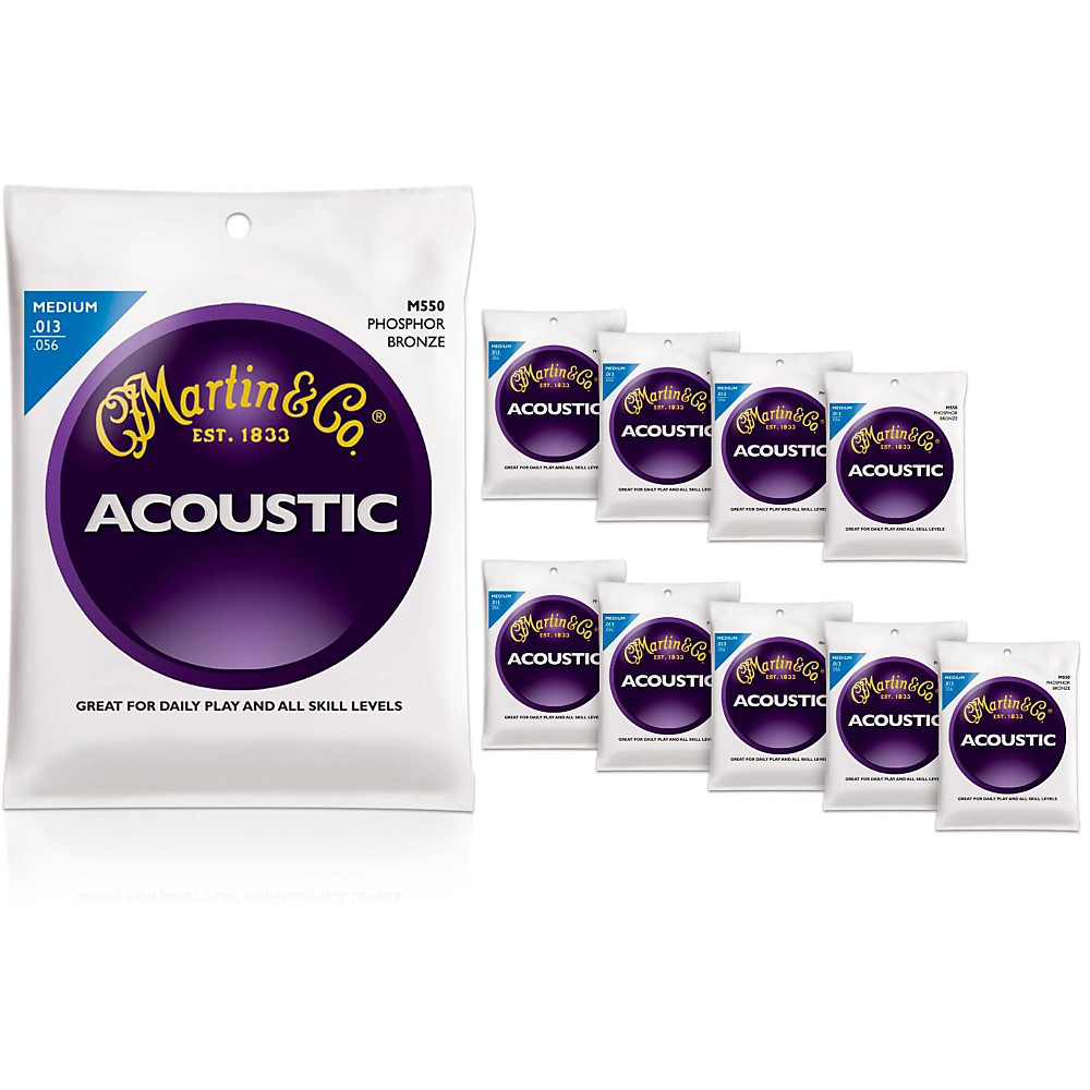 Martin M550 Medium Phosphor Bronze Acoustic Guitar Strings 10-Pack
