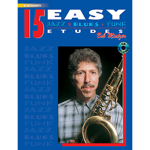 Alfred 15 Easy Jazz Blues & Funk Etudes E-Flat Instrument Book & CD