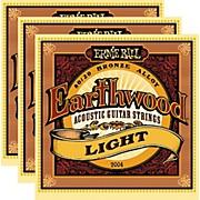 Ernie Ball 2004 Earthwood 80/20 Bronze Light Acoustic Strings (3-Pack)