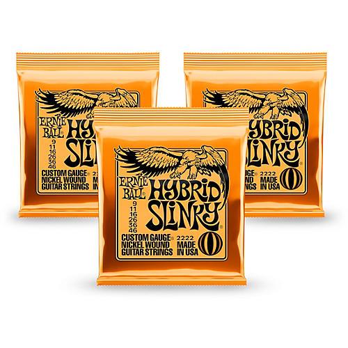 Ernie Ball 2222 Nickel Hybrid Slinky Orange Electric Guitar Strings 3 Pack-thumbnail