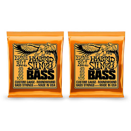 Ernie Ball 2833 Hybrid Slinky Round Wound Bass Strings 2 Pack-thumbnail