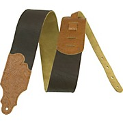 "Franklin Strap 3"" Chocolate Leather Guitar Strap with Caramel Tooled Ends"
