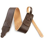 "Franklin Strap 3"" Chocolate Leather Guitar Strap with Gold Stitching"