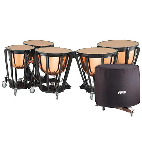 Yamaha 7300 Series Professional Hammered Copper Timpani Set with Long Cover-thumbnail