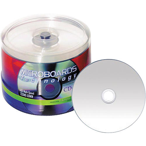 Taiyo Yuden 80 Minute/700 MB CD-R, 52X Silver Inkjet Hub Printable, 100 Disc Spindle-thumbnail