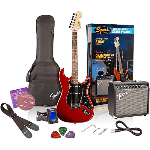 affinity series stratocaster hss electric guitar pack with fender champion 20w guitar combo amp. Black Bedroom Furniture Sets. Home Design Ideas