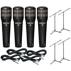 Audix I-5 Mic with Cable and Stand 4 Pack (I5PACK4)