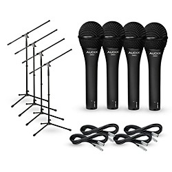 Audix OM-2 Mic with Cable and Stand 4 Pack (OM2PACK4)
