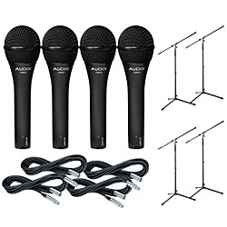 Audix OM-5 Mic with Cable and Stand 4 Pack (OM5PACK4)