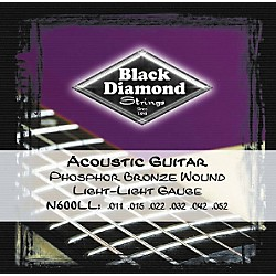Black Diamond Light Light Gauge Phosphor Bronze Acoustic Guitar Strings (N600LL)