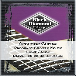 Black Diamond Light Phosphor Bronze Acoustic Guitar Strings (N600L)