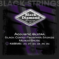 Black Diamond Medium Gauge Black Coated Phosphor Bronze Acoustic Guitar Strings (N600MB)
