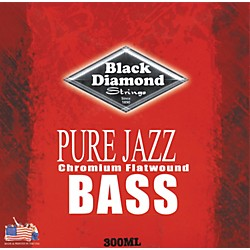 Black Diamond Pure Jazz Bass Guitar Chromium Flat Wound Strings (300ML)