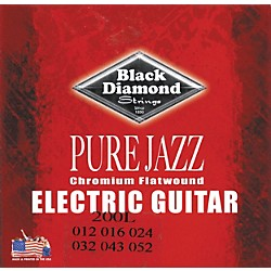 Black Diamond Pure Jazz Electric Guitar Chromium Flat Wound Strings (200L)