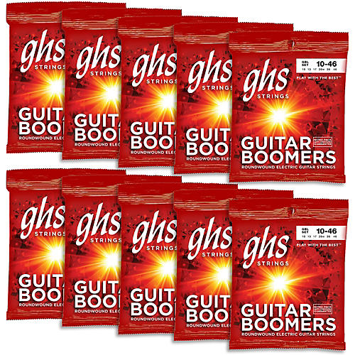 GHS Boomers Light Roundwound Electric Guitar Strings (10-Pack)