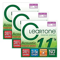 Cleartone Cleartone Coated Extra Light Acoustic Guitar Strings Buy Two Get One Free (7411-3pk)