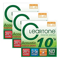 Cleartone Cleartone Coated Ultra Light Acoustic Guitar Strings Buy Two Get One Free (7410-3Pk)