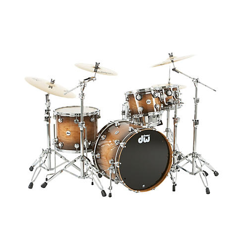 DW Collector's Cherry Lacquer Specialty 4-Piece Shell Pack All Cherry Natural to Candy Black Burst Chrome Hardware-thumbnail