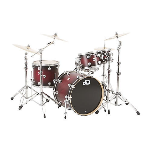 DW Collector's Series Satin Specialty 4-Piece Shell Pack Twisted Cherry to Black Burst Satin Chrome Hardware