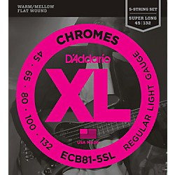 D'Addario ECB81-5SL Chromes Flat Wound 5-String Bass Soft SL Strings (ECB81-5SL)