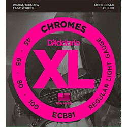 D'Addario ECB81 XL Chromes Flatwound Bass Strings (ECB81)