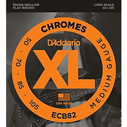 D'Addario ECB82 Chromes Flatwound Medium Bass Strings (ECB82)
