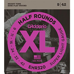 D'Addario EHR320 Half Round Super Light Electric Guitar Strings (EHR320)