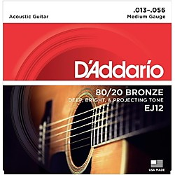 D'Addario EJ12 80/20 Bronze Medium Acoustic Guitar Strings (EJ12)