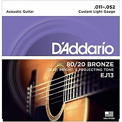 D'Addario EJ13 80/20 Bronze Custom Light Acoustic Guitar Strings (EJ13)