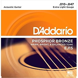 D'Addario EJ15 Phosphor Bronze Extra Light Acoustic Strings Single-Pack (EJ15)