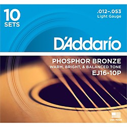D'Addario EJ16-10P Phosphor Bronze Light Acoustic Guitar Strings (10-Pack) (EJ16-10P)