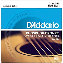 D'Addario EJ16 Phosphor Bronze Light Acoustic Guitar Strings Single-Pack (EJ16)