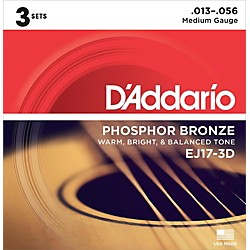 D'Addario EJ17 Phosphor Bronze Medium Acoustic Strings (3-Pack) (EJ17-3D)