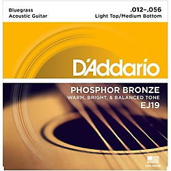 D'Addario EJ19 Phosphor Bronze Bluegrass Medium Light Acoustic Guitar Strings (EJ19)