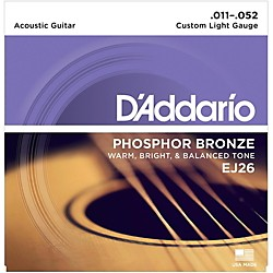 D'Addario EJ26 Phosphor Bronze Custom Light Acoustic Guitar Strings (EJ26)