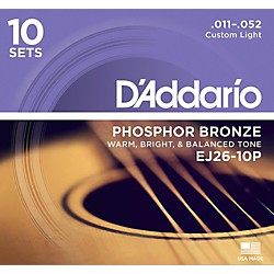 D'Addario EJ2610-P 10-Pack Custom Light Acoustic Guitar Strings (EJ26-10P)