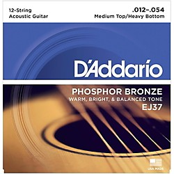 D'Addario EJ37 12-String Phosphor Bronze Acoustic Guitar Strings - Medium Top Heavy Bottom (EJ37)