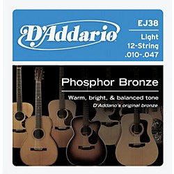 D'Addario EJ38 12-String Phosphor Bronze Light Acoustic Guitar Strings (EJ38)