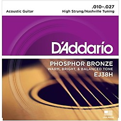 D'Addario EJ38H High Strung/Nashville Tuning 10-27 Acoustic Guitar Strings (EJ38H)