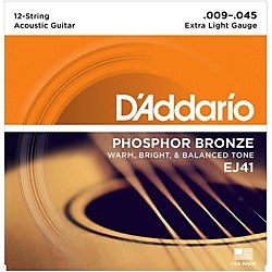 D'Addario EJ41 12-String Phosphor Bronze Extra Light Acoustic Guitar Strings (EJ41)