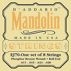 D'Addario EJ70 Phosphor Bronze Ball End Mandolin Strings (EJ70)