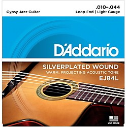 D'Addario EJ84L Gypsy Jazz Silver Wound Loop End Light Guitar Strings (EJ84L)
