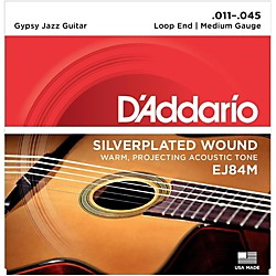 D'Addario EJ84M Gypsy Jazz Silver Wound Loop End Medium Guitar Strings (EJ84M)