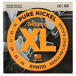 D'Addario EPN110 Pure Nickel Electric Guitar Regular Light Strings (EPN110)