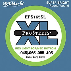 D'Addario EPS165SL XL ProSteels Light Top/Medium Bottom Super Long Scale Bass Strings (EPS165SL)