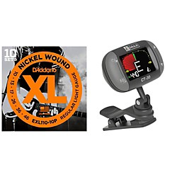 D'Addario EXL110-10P with a DeltaLab clip-on Tuner (CT30EXL110P)