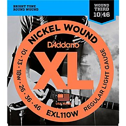 D'Addario EXL110W Nickel Regular Light Wound 3rd Electric Guitar Strings (EXL110W)