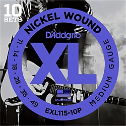 D'Addario EXL115 Nickel Blues/Jazz Electric Guitar Strings 10-Pack (EXL115-10P)