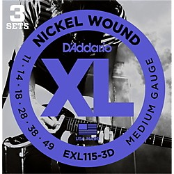 D'Addario EXL115 Nickel Blues/Jazz Electric Guitar Strings 3-Pack (EXL115-3D)