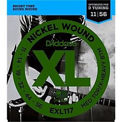 D'Addario EXL117 Medium Top/Extra-Heavy Bottom, Nickel-Wound Electric Guitar Strings (EXL117)